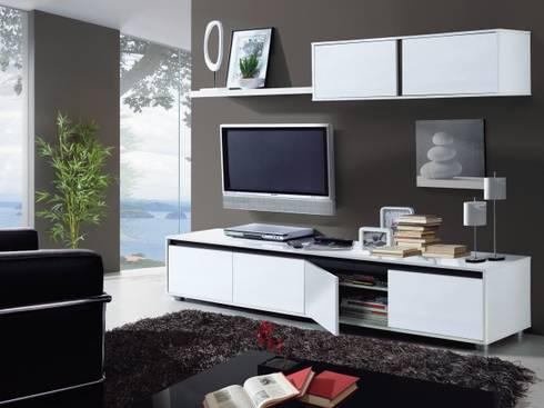 Conjunto de salón Aura color blanco brillo, diseño moderno y minimalista.: Salones de estilo moderno de Icommers Every S.L.