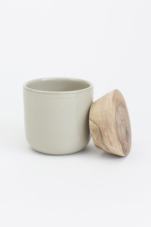 Storage Jar with Wooden Lid - Taupe:  Kitchen by Oggetto