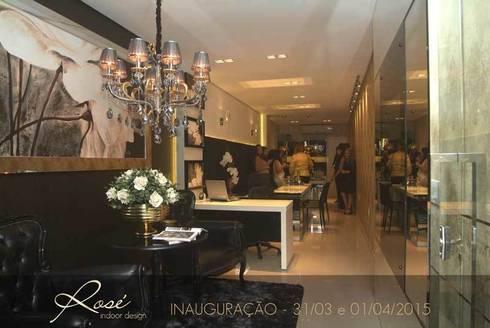 Inauguração Escritório Rose Indoor Design: Escritórios  por Rosé Indoor Design