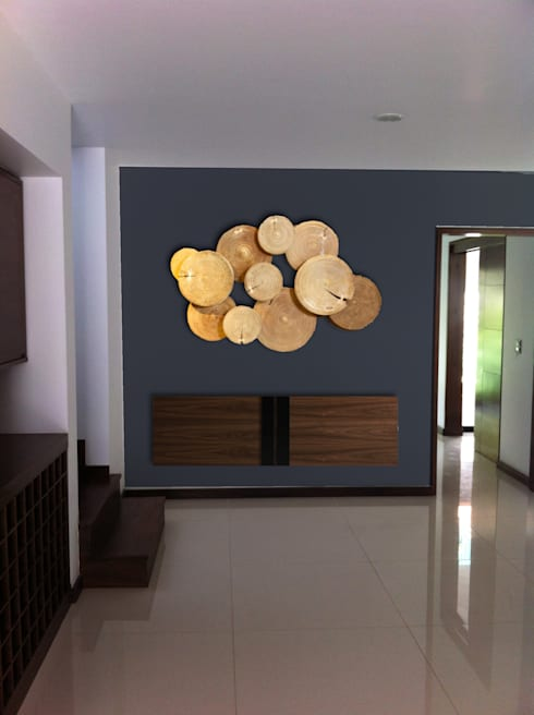INGRESO: Salas multimedia de estilo moderno por MINT INTERIORISMO