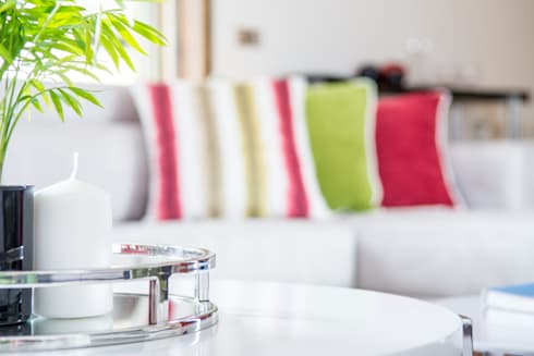 Sala Estar - Encosta do Douro: Salas de jantar ecléticas por Ângela Pinheiro Home Design