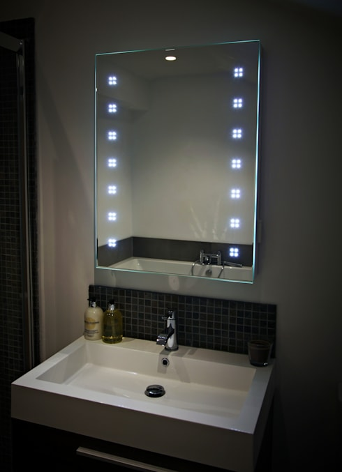 Lucid LED Mirror:  Bathroom by Hudson Reed