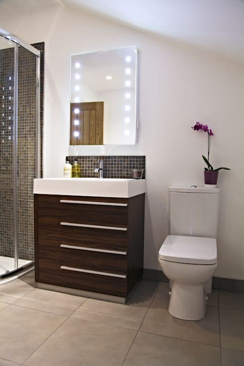 Compact Flush to Wall Pan & Cistern:  Bathroom by Hudson Reed