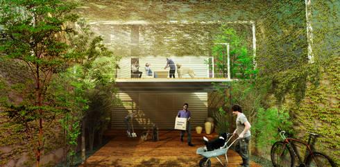 Fachada: Casas de estilo minimalista por Colectivo Ruta Alterna
