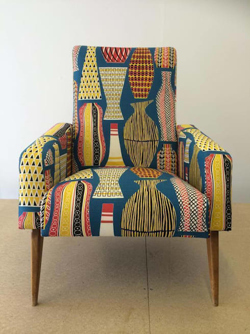 pair of mid century french club chairs reupholstered in mustard wool