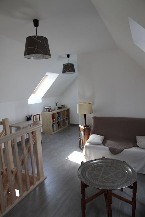 palier / petit salon:  de style  par Amélie Tremblay-Choteau Architecte d'intérieur