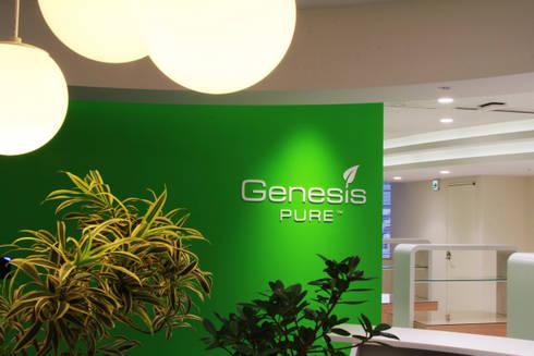 一粒の水滴が水面から広がる波紋のように日本からアジアへ、広がりに願いを込めて: 株式会社ヴィスが手掛けたオフィススペース&店です。
