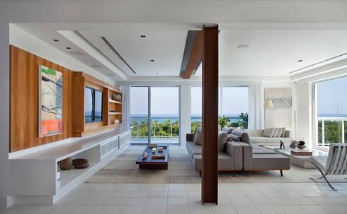 Cobertura Vista, Barra da Tijuca, Rio de Janeiro: Salas de estar modernas por Paula Neder Arquitetos Associados / Studio PN