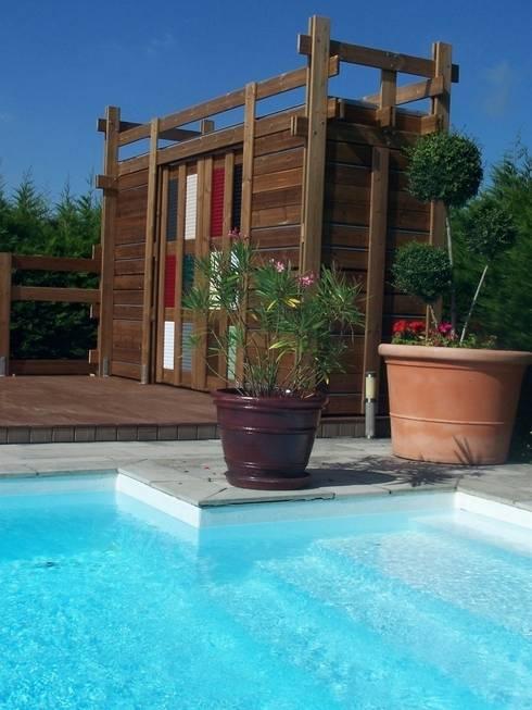 Pegola, pool house savoie: Terrasse de style  par FA'BRIC ET BOIS