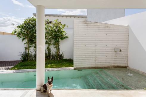 Alberca con fuente: Albercas de estilo minimalista por Taller ADC Architecture Office