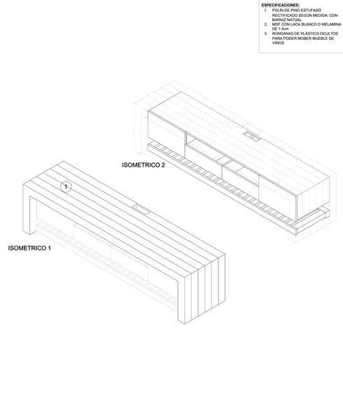MUEBLE PARA TV:  de estilo  por gOO Arquitectos