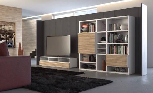 COMPOSICION LIBRERIA Y MESA DE TV.: Salones de estilo moderno de PIANCA MOBILIARIO