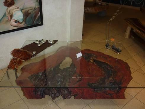Mesa de Centro con Tronco Organico: Salas de estilo rústico por Cenquizqui