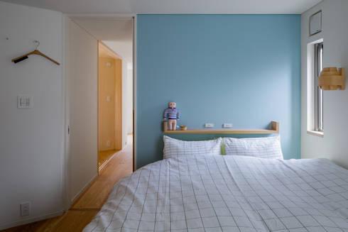 トンガリの家: 株式会社リオタデザインが手掛けた寝室です。