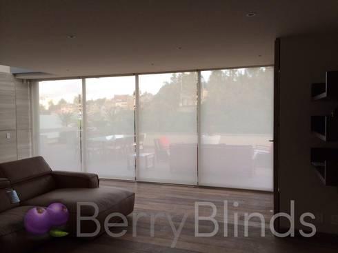 PERSIANAS ENROLLABLES MOTORIZDAS: Puertas y ventanas de estilo moderno por BERRY BLINDS INTERIORISMO