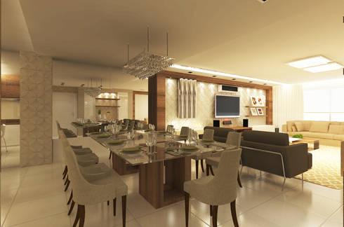 Área de Viver: Salas de jantar modernas por Vanessa Guerra Arquitetura