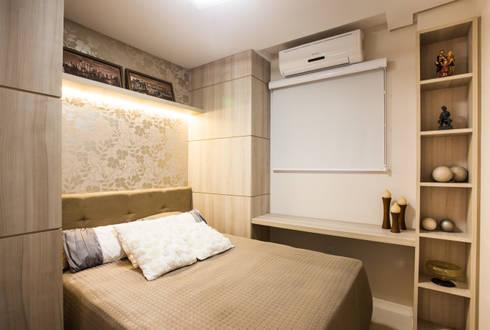 Composição de materiais no dormitório de hóspedes: Quarto  por msaviarquitetura