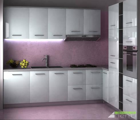 Cucina moderna con pavimenti e pareti in resina par Arienti Design ...