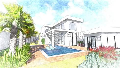 Vista Posterior: Casas modernas por aei arquitetura e interiores