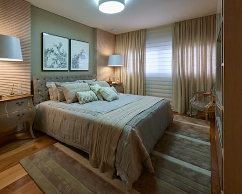 Apartamento JD: Quartos  por Gláucia Britto