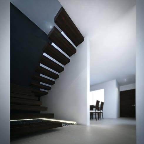 Escaleras: Pasillos y recibidores de estilo  por RTstudio