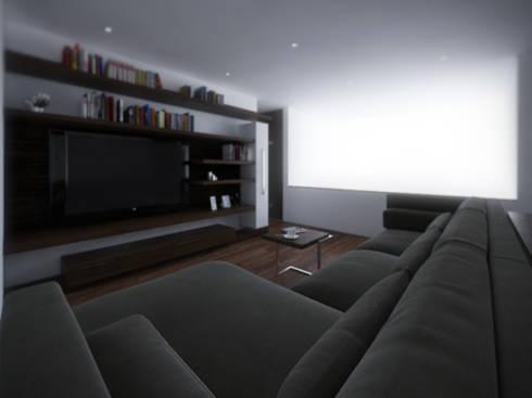 Sala TV: Salas multimedia de estilo minimalista por RTstudio