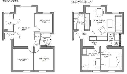 Reforma piso de 43m² útiles. :  de estilo  de beatriz gala reformas e interiorismo