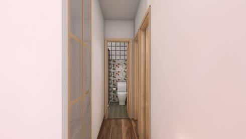 Reforma piso de 43m² útiles. : Vestíbulos, pasillos y escaleras de estilo  de beatriz gala reformas e interiorismo