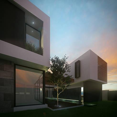 Fachada Lateral: Casas de estilo minimalista por RTstudio