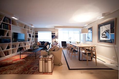 Sube Susaeta Interiorismo - Sube Contract diseño interior de casa con gran cocina: Salones de estilo moderno de Sube Susaeta Interiorismo