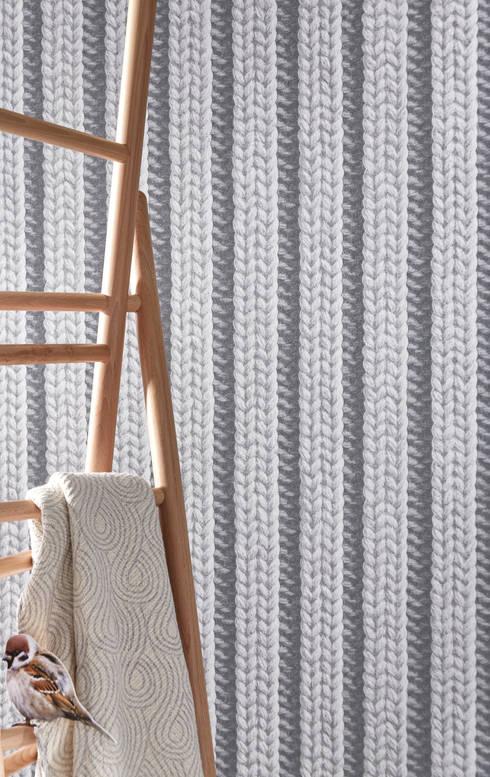 trompe l 39 oeil koziel papier peint tricot gris by homify. Black Bedroom Furniture Sets. Home Design Ideas