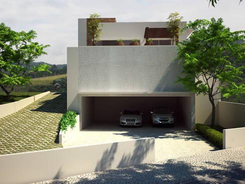 Fachada Frontal: Banheiros modernos por Flávia Brandão - arquitetura, interiores e obras