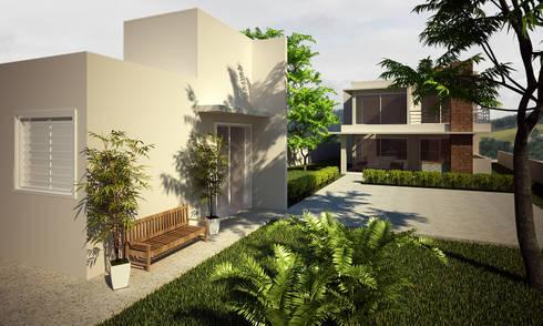 Fachada ponterior: Casas modernas por Flávia Brandão - arquitetura, interiores e obras