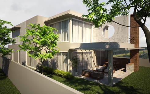 Fachada lateral e fundos: Casas modernas por Flávia Brandão - arquitetura, interiores e obras