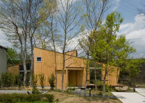 木立の向こうに見える住まい: IBC DESIGNが手掛けた庭です。