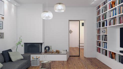 ristrutturazione di una villa a belluno - progetto ii by 02a ... - Soggiorno Living Progetto 2