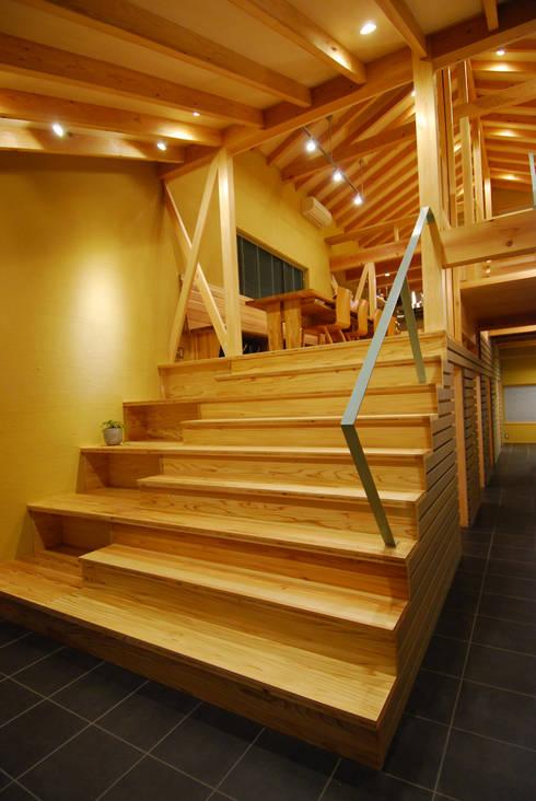 大階段ギャラリー: 豊田空間デザイン室 一級建築士事務所が手掛けた廊下 & 玄関です。