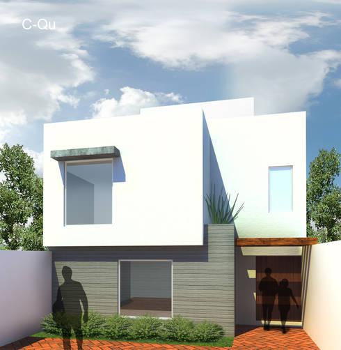 Vista principal casa C-QU: Casas de estilo  por ODRACIR