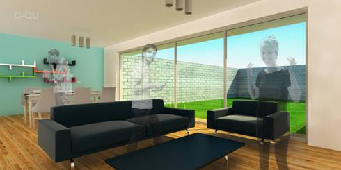 Vista interior sala - comedor espacio abierto.: Salas de estilo moderno por ODRACIR