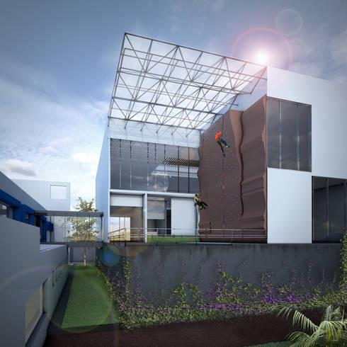 ANV LEÓN FACHADA: Gimnasios de estilo moderno por gOO Arquitectos