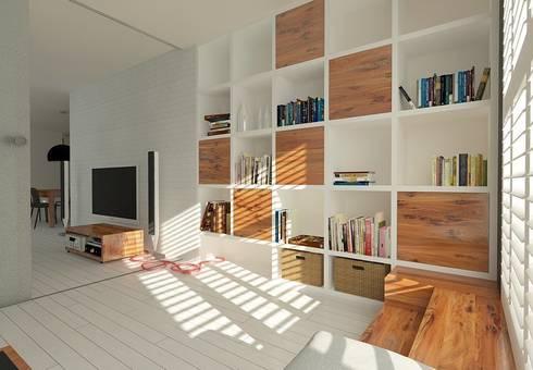 APARTAMENT W LUBLINIE: styl , w kategorii Salon zaprojektowany przez Kunkiewicz Architekci