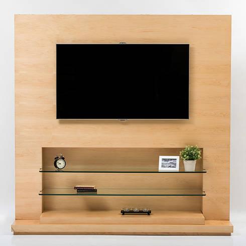 Mueble de TV en Maple : Sala multimedia de estilo  por MADERISTA