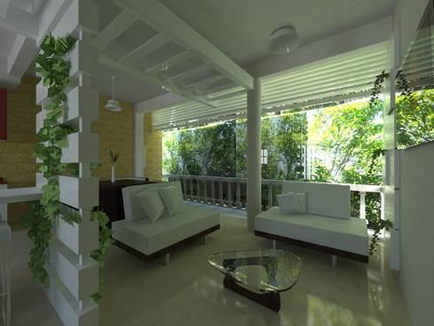 Proyecto de Remodelacion Depto. Lazaro Cardenas, Mich.: Salas de estilo moderno por JRK Diseño - Studio Arquitectura