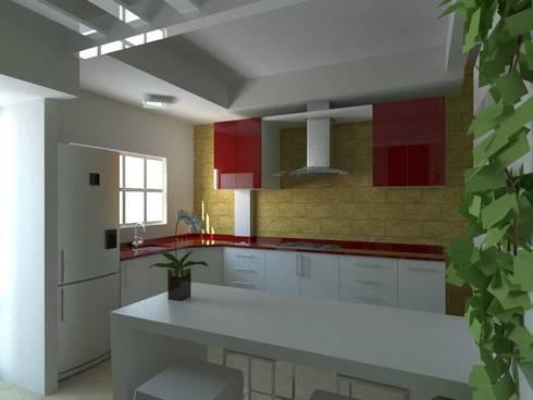 Proyecto de Remodelacion Depto. Lazaro Cardenas, Mich.: Cocinas de estilo moderno por JRK Diseño - Studio Arquitectura