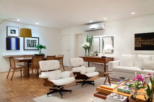 Integração: Salas de estar e jantar: Salas de estar ecléticas por Angela Medrado Arquitetura + Design
