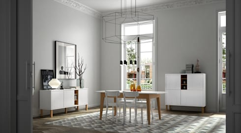 Niche with Pattern Collection / Cupboard, Sideboard and Dining Table: Sala de jantar  por Temahome