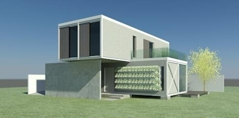 CASA CONTAINER - INSIDE BOX: Casas industriais por ESTUDIO ARK IT