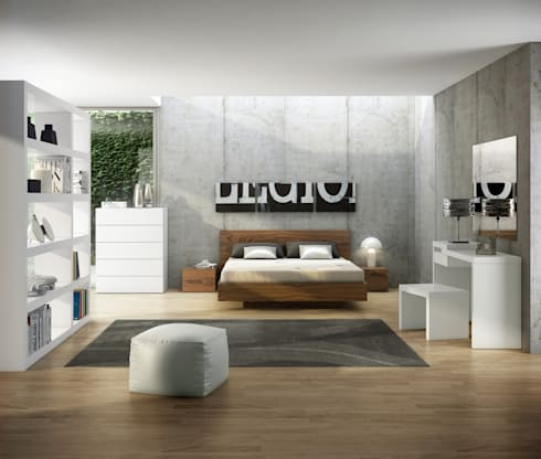 Float bed with wood headboard: Quarto  por Temahome