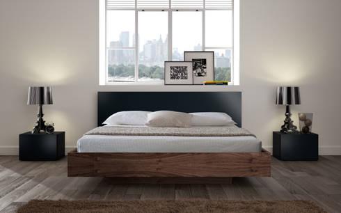 Float bed walnut+anthracite: Quarto  por Temahome