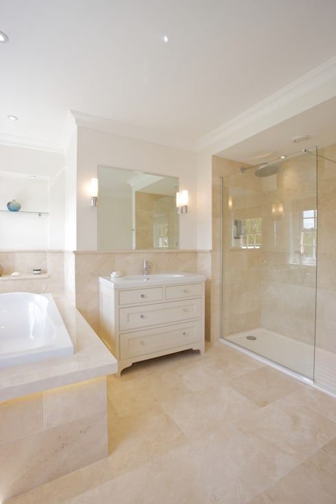 Crema Marfil Marble Grade A in a honed finish from Artisans of Devizes. : classic Bathroom by Artisans of Devizes